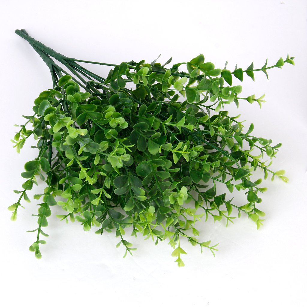 DTOL 2 x Artificial Plastic Plant Eucalyptus Grass 7 Branches for Home Wedding Decoration Green---Small Leaves